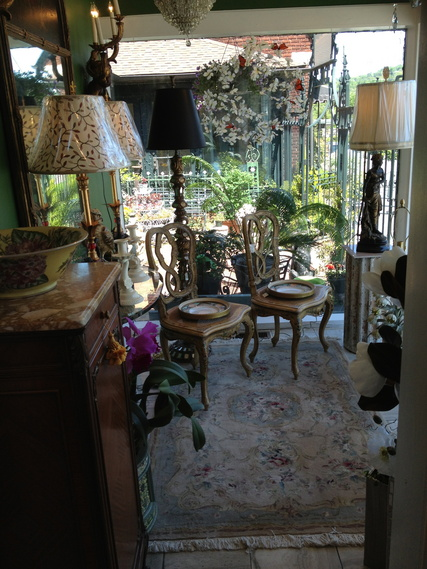 Antique Italian chairs, Antiques Asheville, NC, lampshades,lamp repair